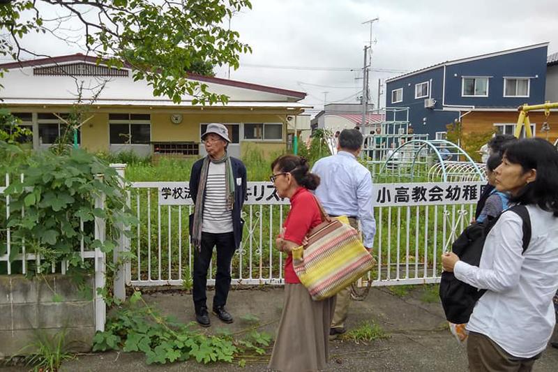 日本基督教団小高教会の付属幼稚園の園庭<br />