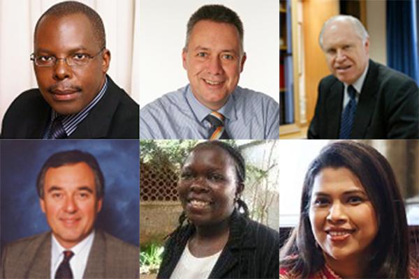 上段左から、グッドウィル・シャナ氏(議長)、フランク・ヒンケルマン氏(副議長)、ジョン・E・ラングロワ氏(主事)。下段左から、ケン・アーツ氏(会計担当)、新たに理事に選出されたジュディー・カリンガ氏、スネハル・ピント氏(写真:世界福音同盟=WEA)