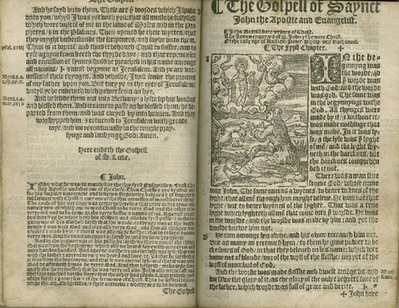 1536年版のティンダル聖書(画像:LIB.UMICH.EDU)<br />