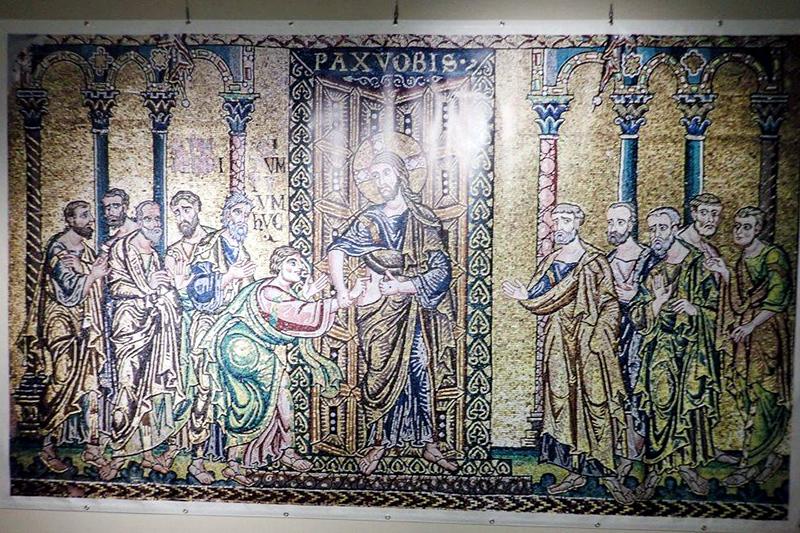 ベツレヘム聖誕教会で発見された12世紀のモザイク壁画 古代オリエント博物館でクローズアップ展示