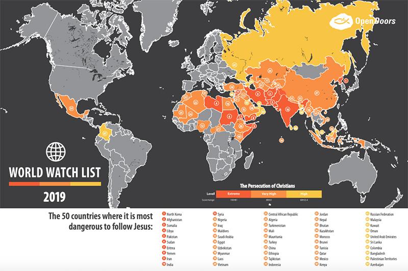 「ワールド・ウォッチ・リスト2019」に基づき、キリスト教徒に対する迫害がひどい50カ国を示した地図。オレンジ色が「極度」、だいだい色が「非常に高度」、黄色が「高度」の迫害を示す。(画像:米国オープン・ドアーズ)<br />