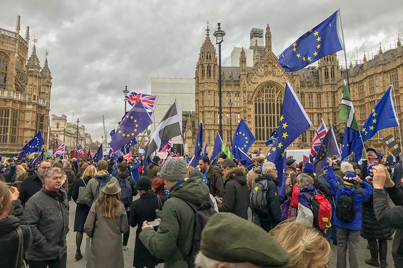 英国旗と欧州旗を持って英議事堂近くに集まる人々=1月15日(写真:Martin Hearn)
