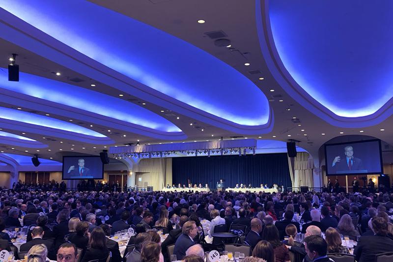 米国の2019年国家朝餐祈祷会の基調講演で語るキリスト教系人権団体「インターナショナル・ジャスティス・ミッション」(IJM)の創設者で会長兼最高責任者(CEO)のゲイリー・ホーゲン氏(写真:IJMのツイッターより)