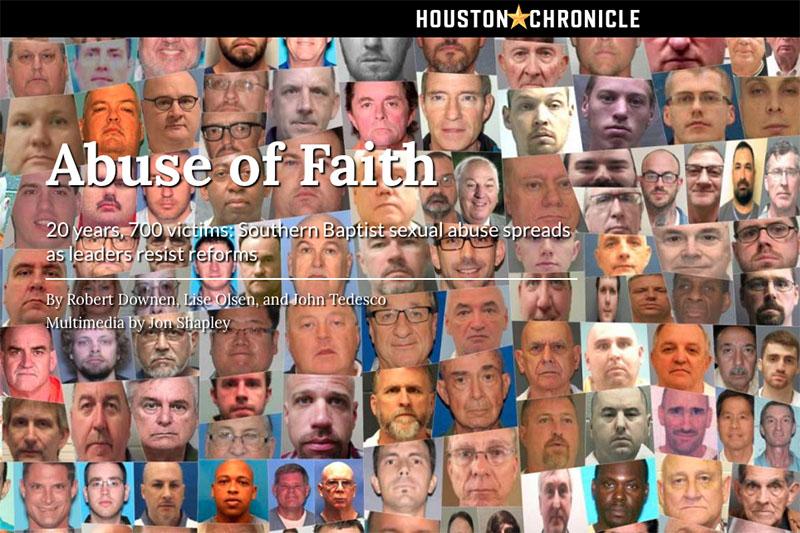 過去20年間に、性的犯罪で有罪判決を受けた南部バプテスト連盟(SBC)の指導者やボランティア約220人の顔写真と共に、SBCの性的虐待問題を報じるヒューストン・クロニクル紙(写真:同紙のサイトより)
