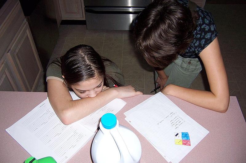 キッチンで日用化学製品の勉強をするホームスクーリングの子どもと母親(写真:Jason Kasper)