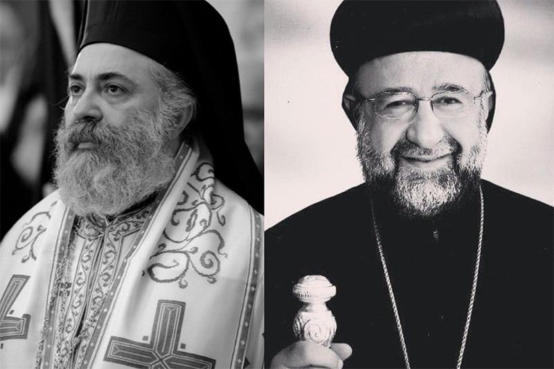 アンティオキア総主教庁(アンティオキア正教会)のアレッポ府主教ボウロス・ヤジギ(左)と、シリア正教会のアレッポ府主教ヨハンナ・イブラヒム