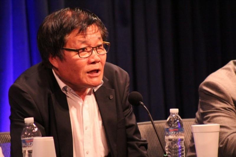 北朝鮮自由週間(4月28日~5月4日)のために訪れた米ワシントンの家族研究協議会(FRC)本部で講演する金龍華(キム・ヨンファ)氏=5月2日(写真:クリスチャンポスト)<br />