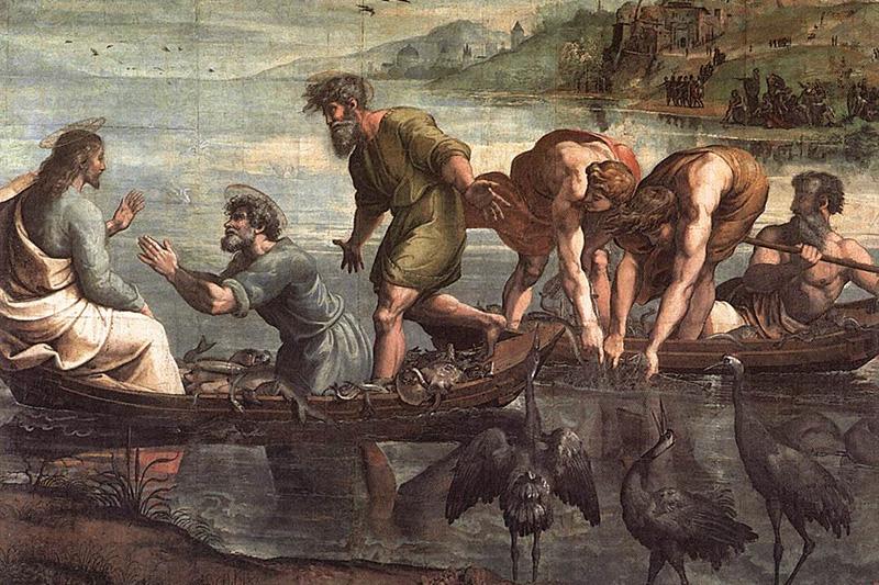 ラファエロ・サンティ「奇跡の漁(いさ)り」(1515年)