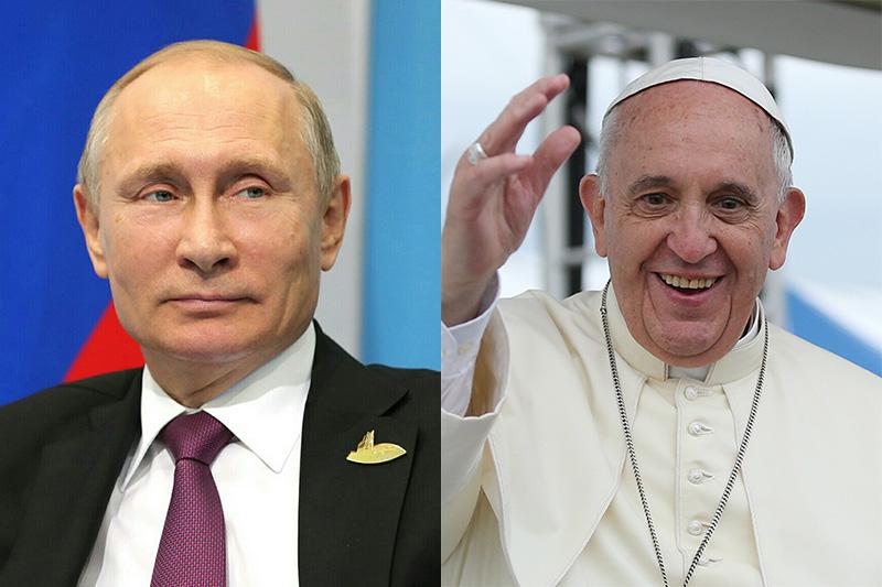 ロシアのウラジーミル・プーチン大統領(写真:Kremlin.ru)とローマ教皇フランシスコ(写真:Korea.net)