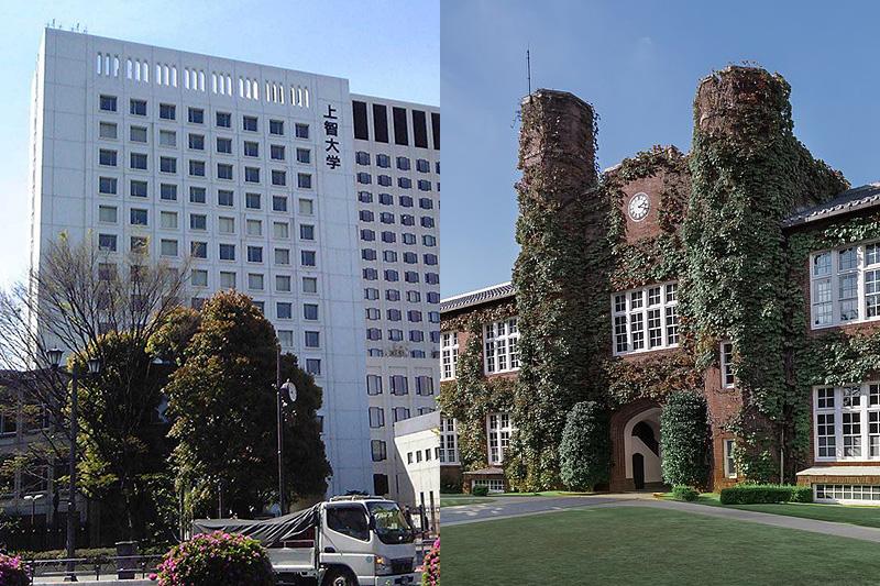 上智大学の7号館(左)と立教大学の本館「モリス館」(右)(写真:Hykw-a4 / Kakidai)