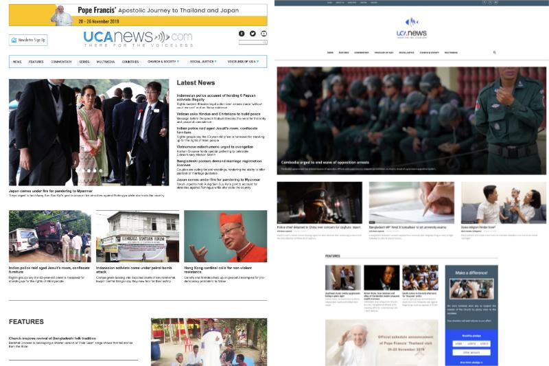 UCAN通信の現在のサイト(ucanews.org、左)と、同通信の元従業員がタイで設立した法人が運営するサイト(uca.news、右)。同通信の本来のドメイン(ucanews.com)はタイの法人により乗っ取られ、現在はアクセスすると、同法人が運営するサイトに転送される。