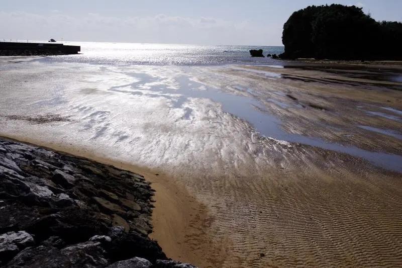 辺野古川河口。潮が引いた河口(干潟)は、表面にうっすらと水分が残ると、光線によって、たまにこう見える。こうした砂の下にカニや魚が多数すんでいる。生物たちが生きているから、辺野古川はまだ美しさを保っているのだ=11月9日(写真:山本英夫撮影、ブログ「<a href='https://blog.goo.ne.jp/yamahide' target='_blank'>ヤマヒデの沖縄便りⅣ</a>」より許可を得て転載)
