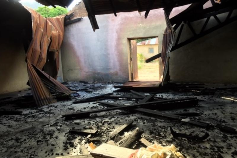 破壊されたナイジェリア中部ジャンガムの聖ペテロ教会(聖公会)(写真:ヒューマニタリアン・エイド・リリーフ・トラスト=HART)