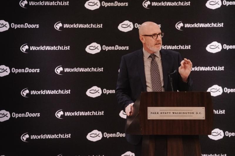 記者会見で「ワールド・ウォッチ・リスト2020」を発表する米国オープン・ドアーズのデイビッド・カリー会長兼最高責任者(CEO)(写真:米国オープン・ドアーズ)
