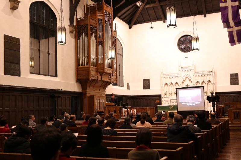 記念講演会は1月25日で聖別(献堂)100周年を迎えた立教学院諸聖徒礼拝堂を会場に行われた=21日、立教大学池袋キャンパス(東京都豊島区)の同礼拝堂で<br />