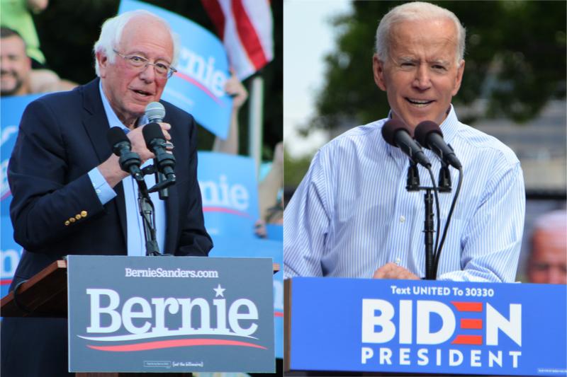 米大統領選の民主党予備選で代表候補指名を競い合っているバニー・サンダース氏(左、写真:Jackson Lanier)とジョー・バイデン氏(写真:Michael Stokes)