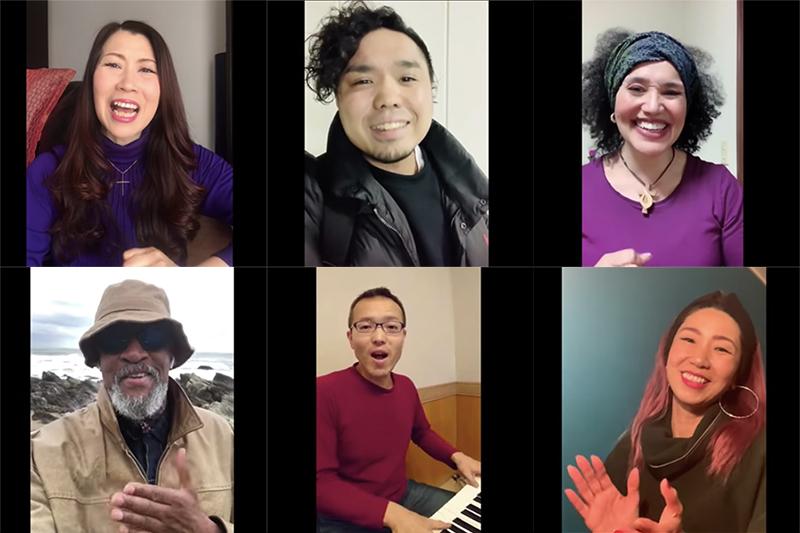 動画に出演する(左上から)市岡裕子、中山栄嗣、MARISA、(左下から)ラニー・ラッカー、山本真一郎、塩谷美和(画像:動画より)
