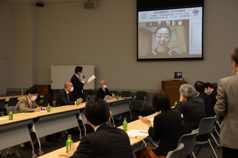 世界宗教者平和会議(WCRP)日本委員会と核軍縮・不拡散議員連盟(PNND)日本による共同提言文に向けた合同会合の様子=27日、参議院議員会館で(写真:WCRP日本委提供)