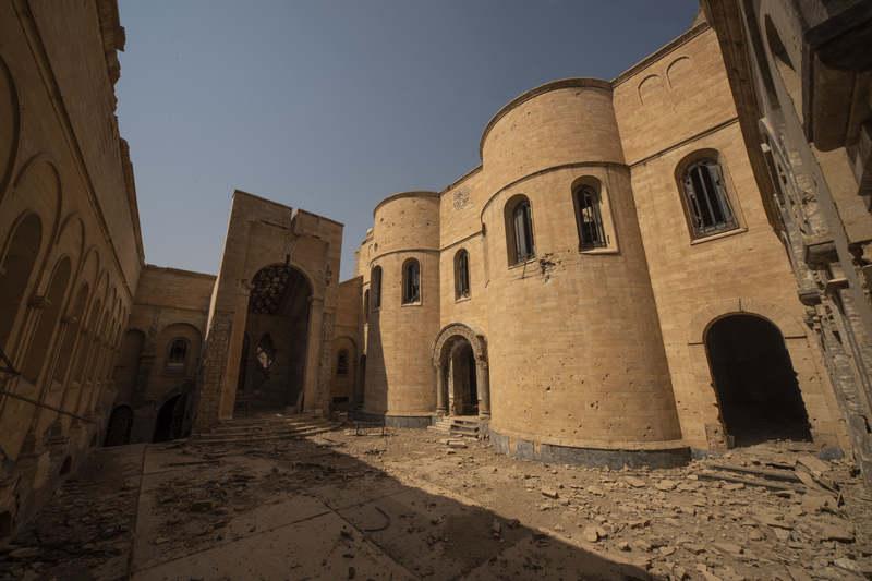 再建工事が始まったモスルの「時の聖母マリア修道院教会」(別名:アル・サーア教会)(写真:国連教育科学文化機関=ユネスコ)