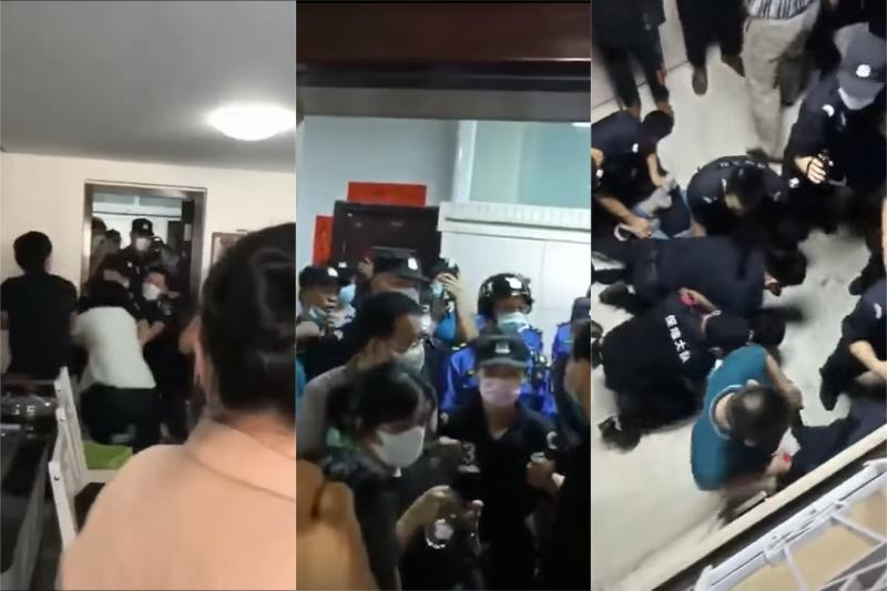 中国福建省厦門(アモイ)市の家の教会「杏光(シングォン)教会」に対する警察による暴力的な取り締まり(画像:動画より)