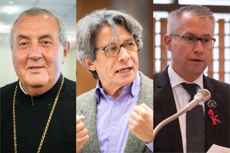 左から、世界教会協議会(WCC)の暫定総幹事に任命されたイオアン・サウカ氏、暫定副総幹事に任命されたオダイル・ペドロソ・マテアス氏、暫定事務総局長に任命されたダグ・チャイル氏