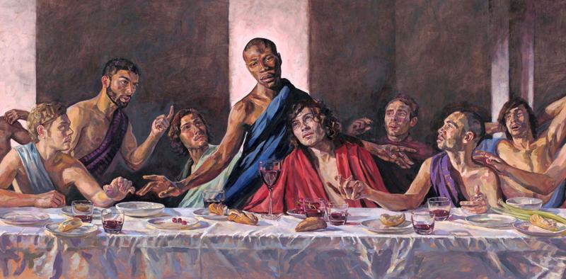 イエス・キリストが黒人として描かれたローナ・メイ・ワズワースさんの「最後の晩餐」(画像:セントオールバンズ大聖堂)
