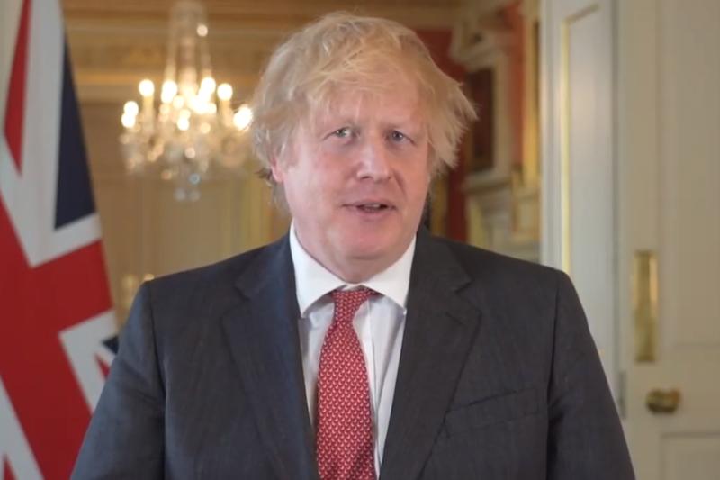 オンラインでライブ配信された英国議会朝餐祈祷会で動画メッセージを寄せるボリス・ジョンソン英首相