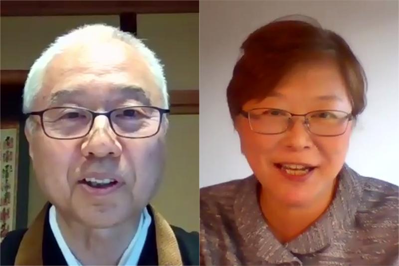 オンラインセミナーで語った全日本仏教会の戸松義晴理事長(左)と日本YWCAの西原美香子業務執行理事=5日