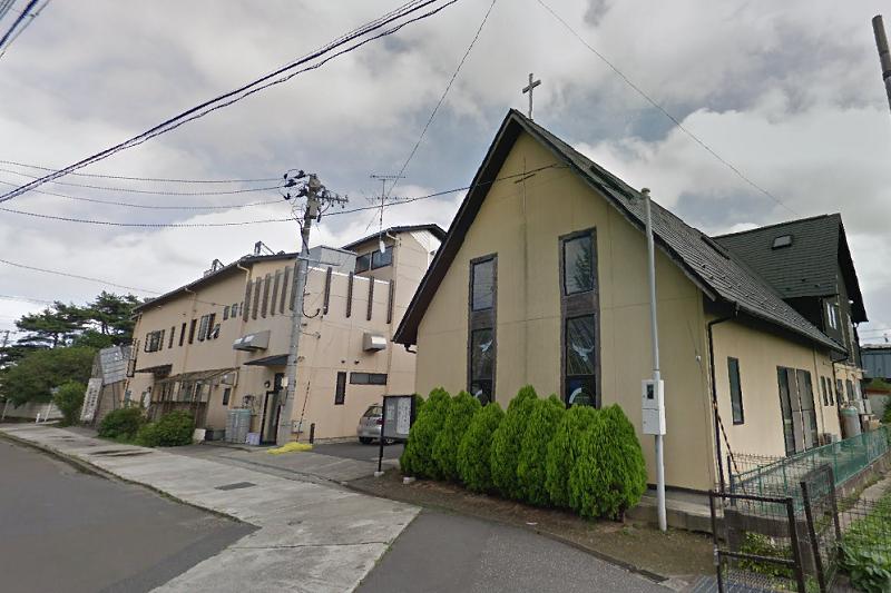 日本基督教団涌谷教会と教会設立の涌谷保育園(写真:グーグル・ストリートビューより)