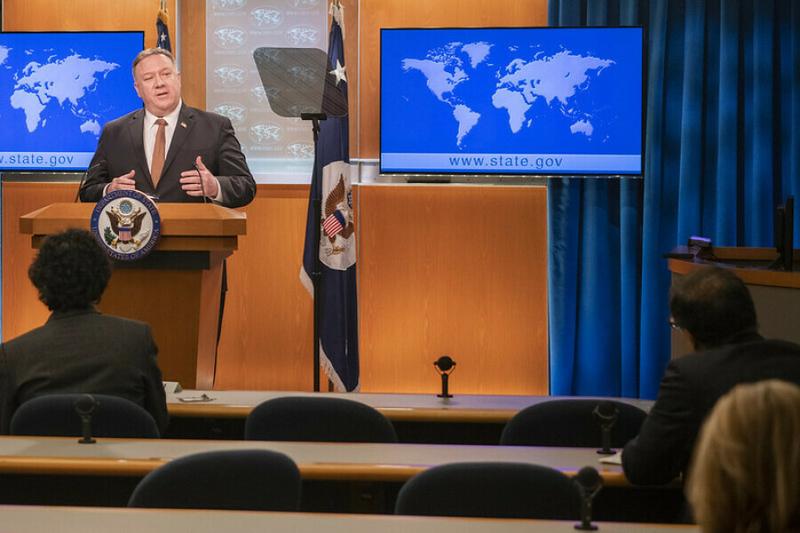 米国務省で記者会見するマイク・ポンペオ国務長官=3月25日(写真:同省 / Freddie Everett)