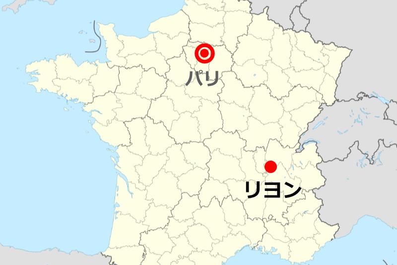 事件があったフランス南東部のリヨン(図:Superbenjamin)