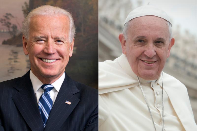 ジョー・バイデン氏(左、写真:ホワイトハウス / David Lienemann)とローマ教皇フランシスコ(右、写真:Jeffrey Bruno)