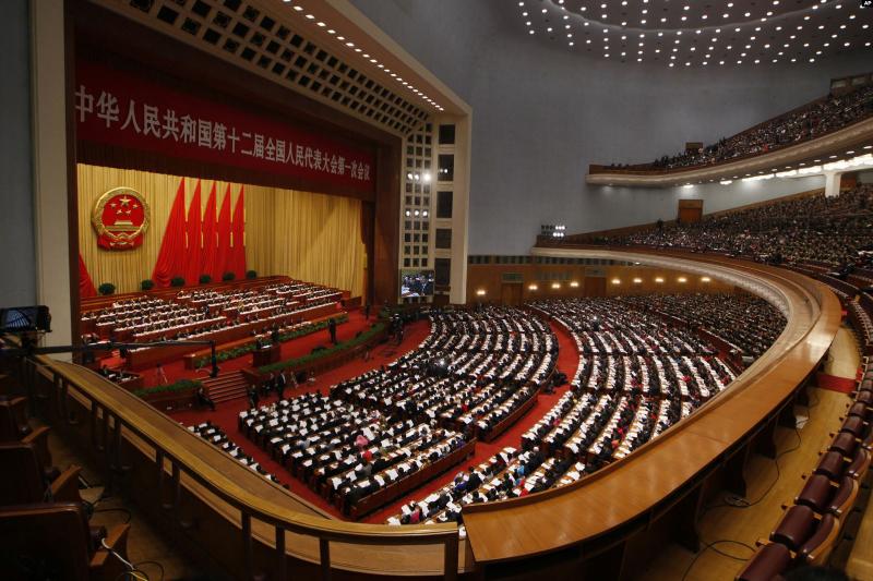 中国の立法機関である「全国人民代表大会」の第12期第1回会議の様子=2013年3月5日(写真:ボイス・オブ・アメリカ=VOA)