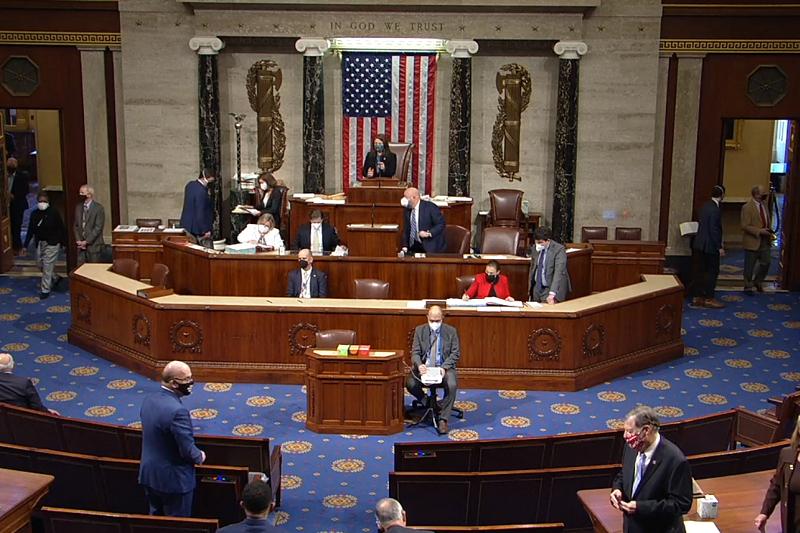 「父」や「母」のような性的区分のある言葉の使用をやめる規則変更を投票で決定する米下院の第117回議会の様子(写真:米下院のライブストリーミングより)