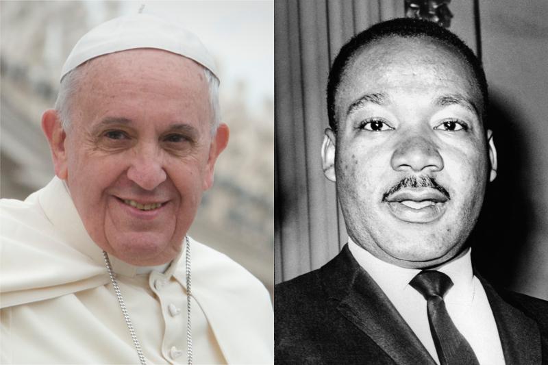 ローマ教皇フランシスコ(左)とマーティン・ルーサー・キング・ジュニア牧師(写真:Jeffrey Bruno / Dick DeMarsico)
