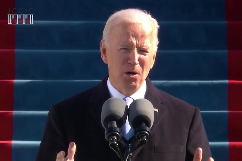 就任式で演説するジョー・バイデン新大統領(写真:米大統領就任式両院合同委員会のライブ動画より)
