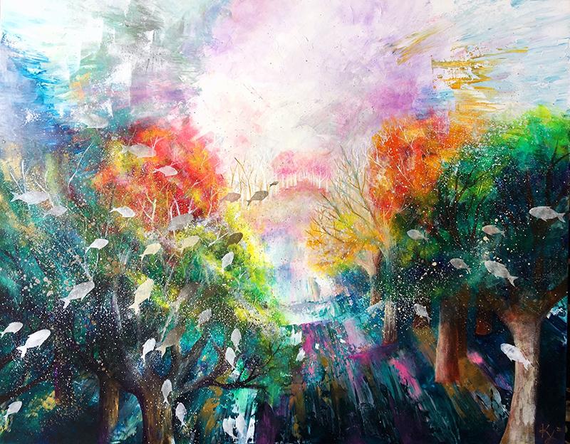 クリスチャン画家・山田桂子さんの「希望の旅」が三木市展に入選 ポストカードにも