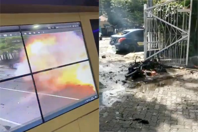 爆発の一部をとらえた監視カメラの映像(左)と現場に残された犯人のオートバイ(写真:ツイッターへの投稿より)