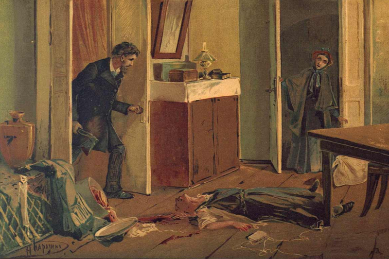 金貸しの老婆を殺す主人公の苦学生ラスコールニコフ(ニコライ・カラジンによる『罪と罰』1893年版の挿絵)<br />
