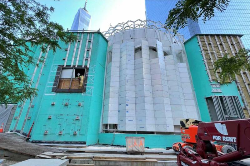 再建工事中の聖ニコラス・ギリシャ正教会=5月18日(写真:同教会のフェイスブックより)<br />