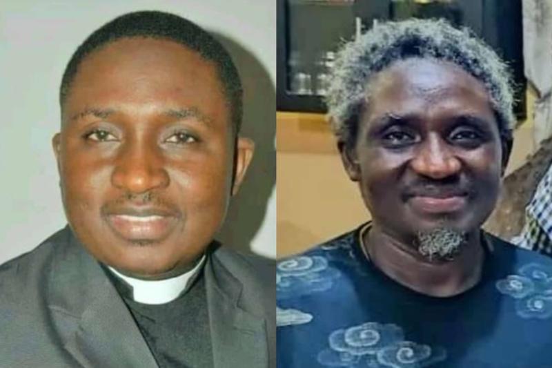 昨年10月に過激派組織「イスラム国西アフリカ州」(ISWAP)に拉致され、今月解放されたポリカープ・ゾンゴ牧師。左が拉致前、右が解放後の写真。(写真:ジョン・ポフィ財団)