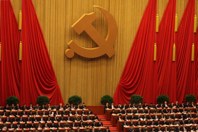 中国共産党の第18回全国代表大会。この大会で当時副主席だった習近平が党中央委員会総書記に選出され、翌年3月から国家主席となった=2012年11月11日(写真:Dong Fang)
