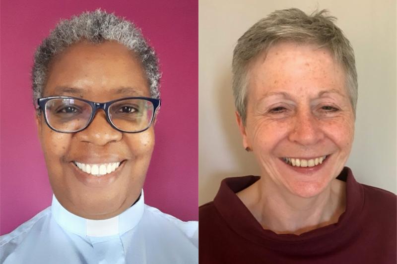 英国メソジスト教会の新議長に任命されたソニア・ヒックス牧師(左)と新副議長に任命されたバーバラ・イーストン氏(写真:同教会)
