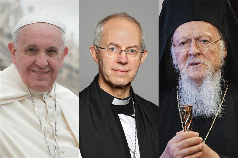 左から、ローマ教皇フランシスコ、カンタベリー大主教ジャスティン・ウェルビー、全地総主教バルソロメオス1世(写真:Jeffrey Bruno / Roger Harris / President of Ukraine)