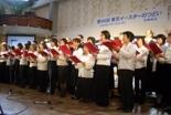 毎年恒例となっている連合聖歌隊。昨年の大会では「ハレルヤ・コーラス」「キリストは生きておられる」を賛美した=2008年3月23日、東京都新宿区のウェスレアン・ホーリネス教団・淀橋教会で