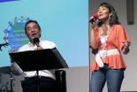 ミクタムレコード主催のコンサートで賛美歌を歌う小坂忠氏(左)=2006年07月14日、瀬谷キリスト教会(横浜市瀬谷区)で