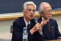 明治学院大学で開かれたシンポジウムで発言する阿部志郎・神奈川県立保健福祉大名誉学長=4月29日
