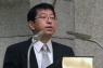 講演する具志堅聖氏=11月30日、東京都台東区のウェスレアン・ホーリネス教団浅草橋教会で