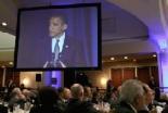 オバマ米大統領が第59回朝餐祈祷会で個人的信仰と祈りの証をしている。2011年2月3日。ワシントンD.C.にて(クリスチャンポスト提供)。