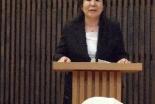 難キ連佐藤直子代表・事務局長=29日、信濃町教会礼拝堂で